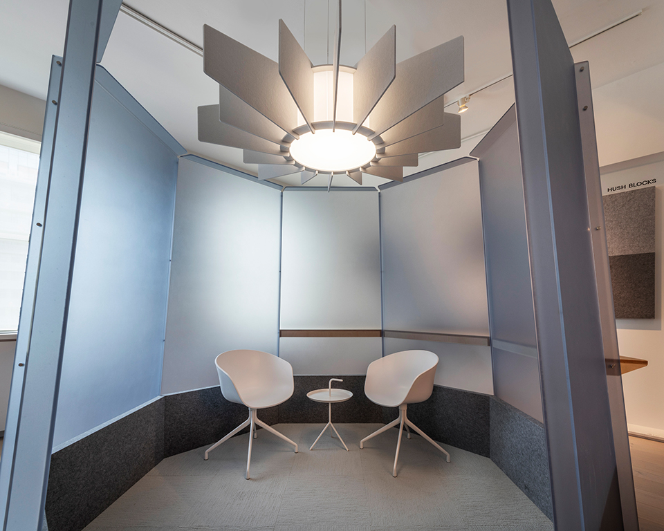 A custom Echo fixture fills a quiet meeting space